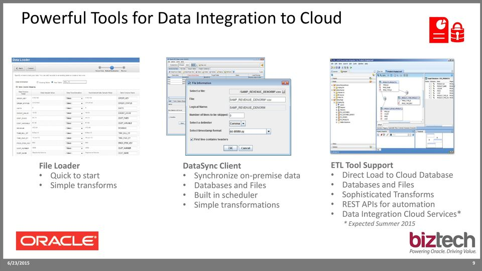 transformations ETL Tool Support Direct Load to Cloud Database Databases and Files