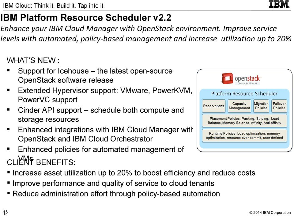 Extended Hypervisor support: VMware, PowerKVM, PowerVC support Cinder API support schedule both compute and storage resources Enhanced integrations with IBM Cloud Manager with OpenStack and