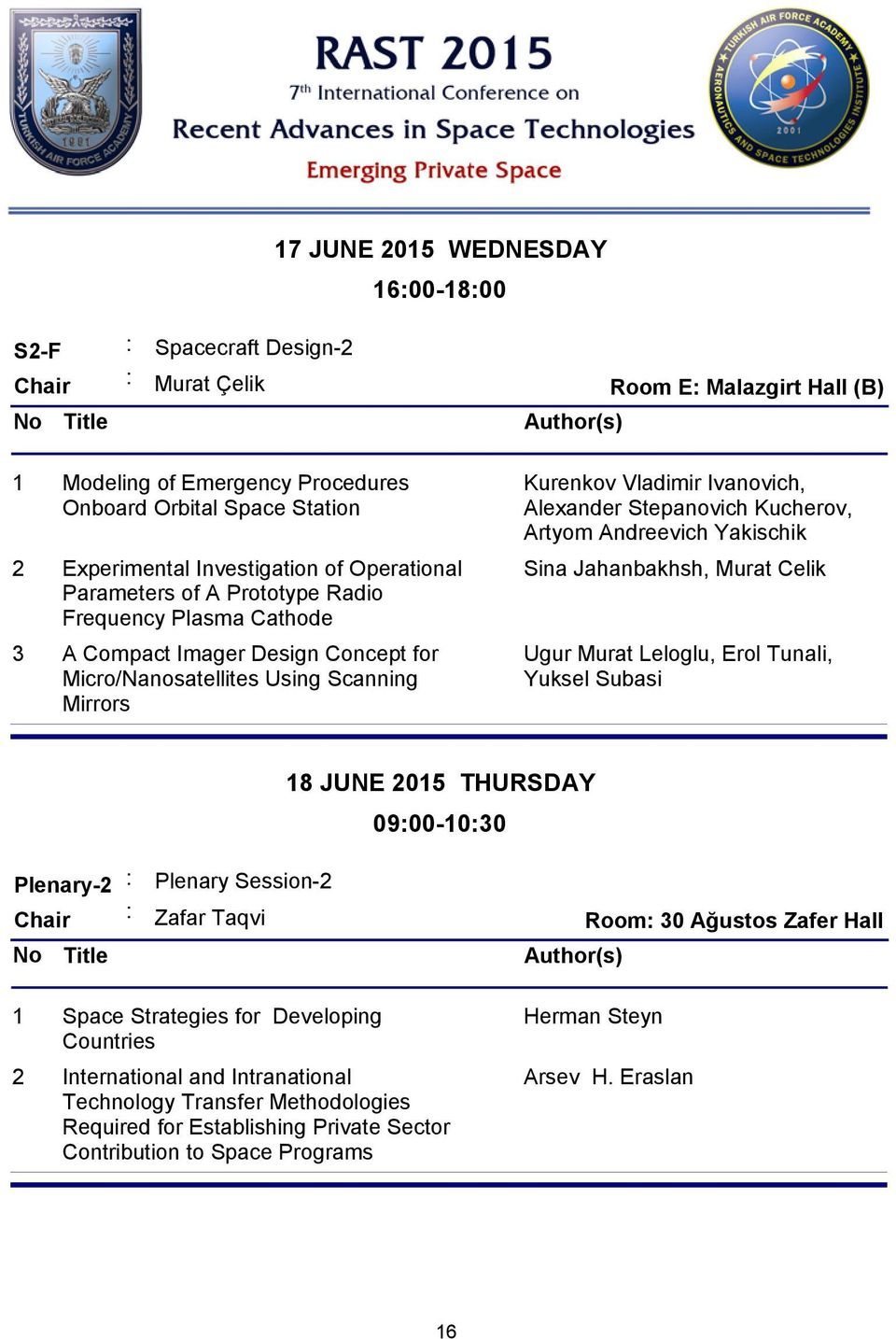 Stepanovich Kucherov, Artyom Andreevich Yakischik Sina Jahanbakhsh, Murat Celik Ugur Murat Leloglu, Erol Tunali, Yuksel Subasi 18 JUNE 2015 THURSDAY 09:00-10:30 Plenary-2 : Plenary Session-2 : Zafar