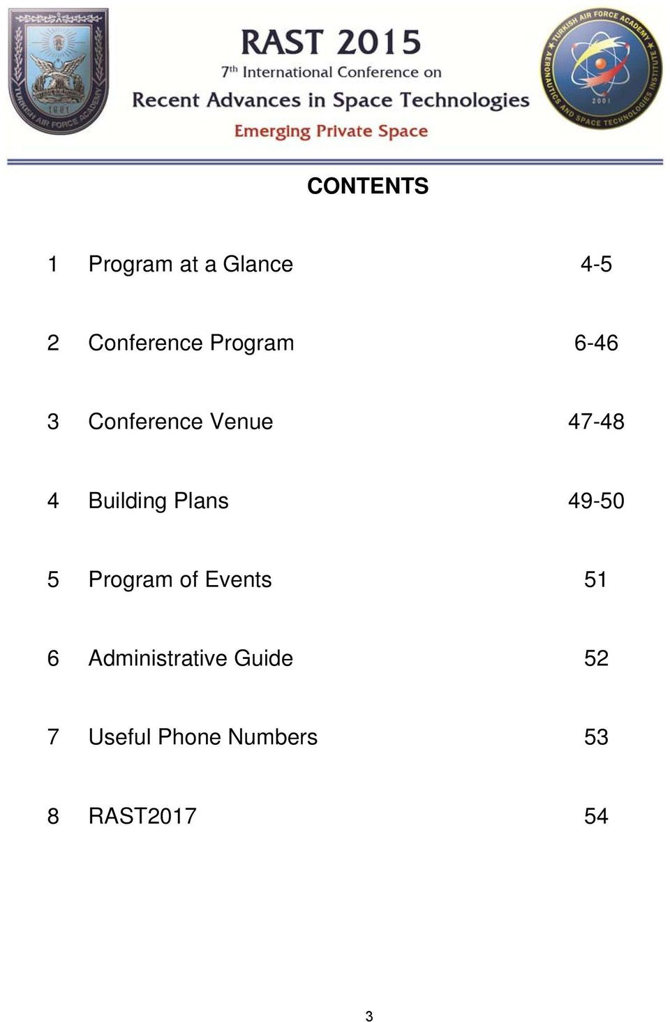 Plans 49-50 5 Program of Events 51 6