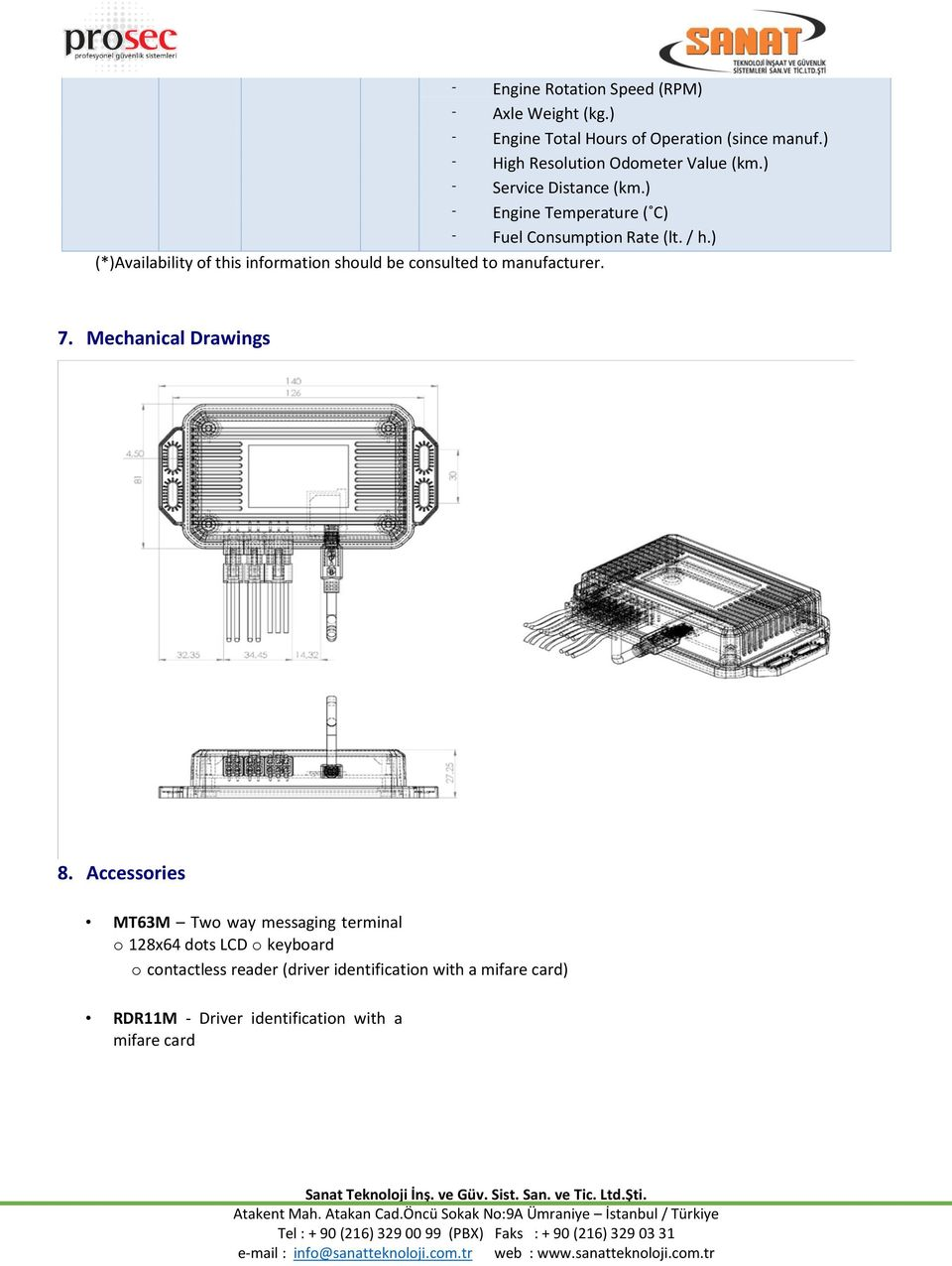 ) (*)Availability of this information should be consulted to manufacturer. 7. Mechanical Drawings 8.