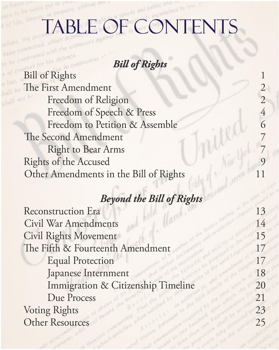 Beyond the Bill of Rights Reconstruction Era 13 Civil War Amendments 14 Civil Rights Movement 15 The Fifth & Fourteenth Amendment 17
