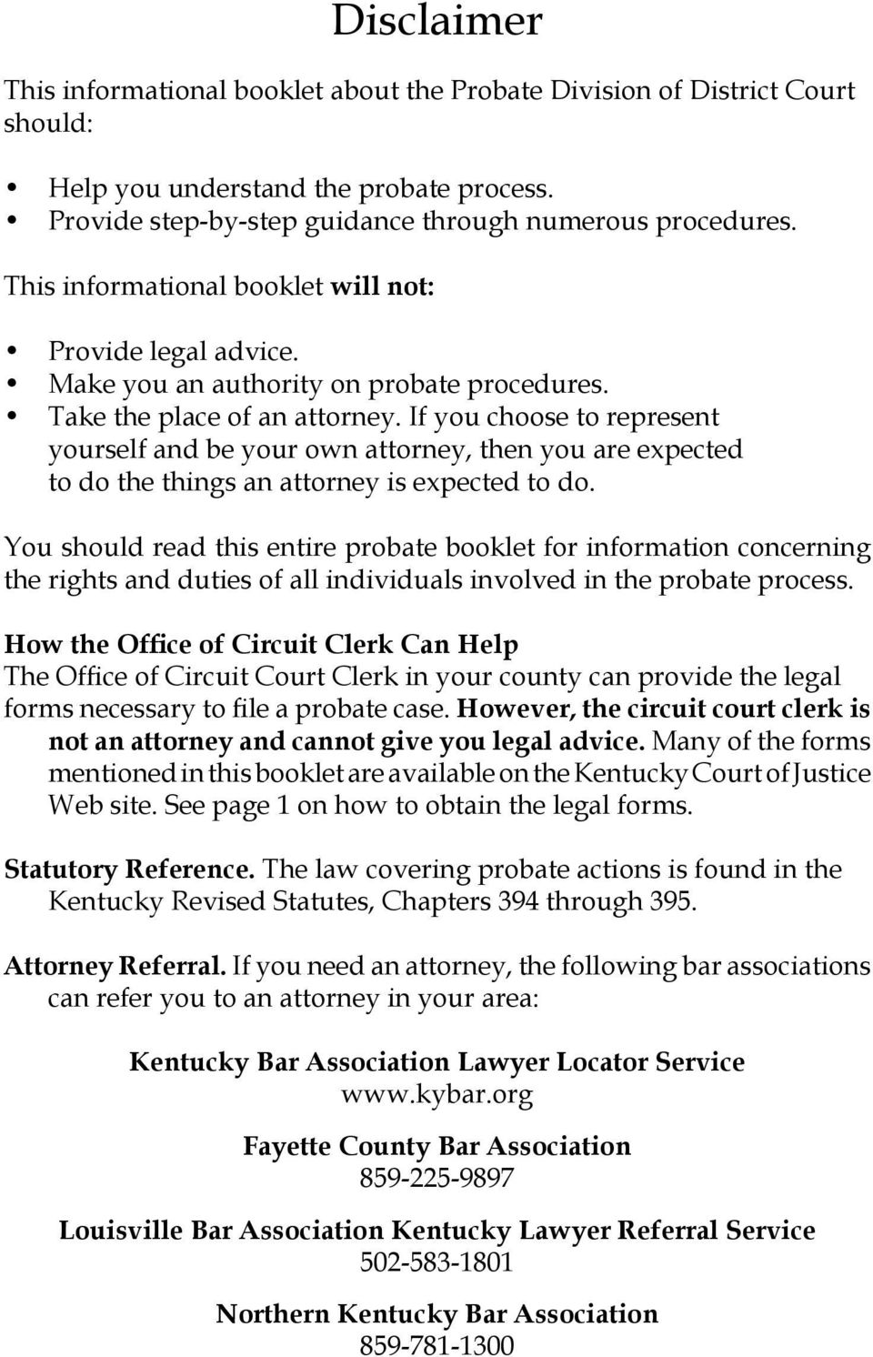 Guide to basic kentucky probate procedures pdf if you choose to represent yourself and be your own attorney then you are expected solutioingenieria Choice Image