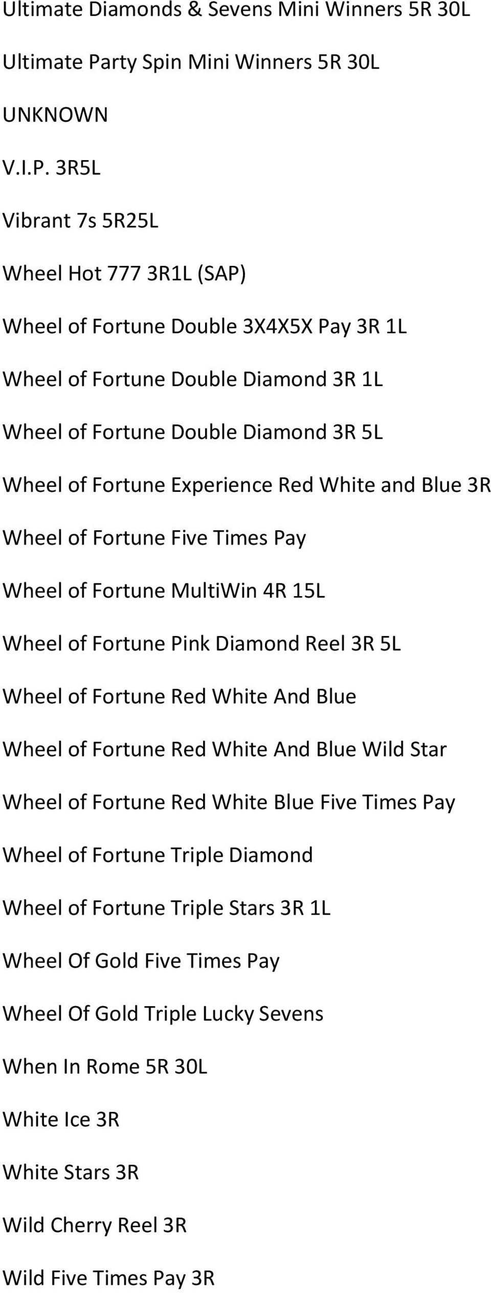 3R5L Vibrant 7s 5R25L Wheel Hot 777 3R1L (SAP) Wheel of Fortune Double 3X4X5X Pay 3R 1L Wheel of Fortune Double Diamond 3R 1L Wheel of Fortune Double Diamond 3R 5L Wheel of Fortune Experience