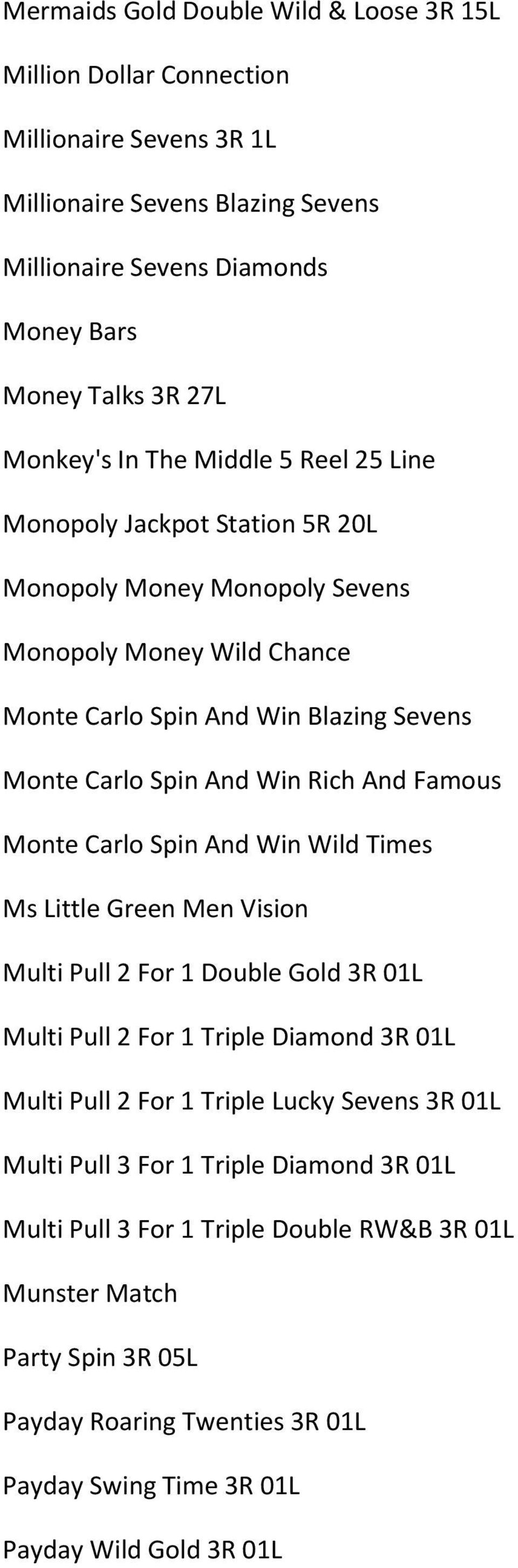 Famous Monte Carlo Spin And Win Wild Times Ms Little Green Men Vision Multi Pull 2 For 1 Double Gold 3R 01L Multi Pull 2 For 1 Triple Diamond 3R 01L Multi Pull 2 For 1 Triple Lucky Sevens 3R 01L
