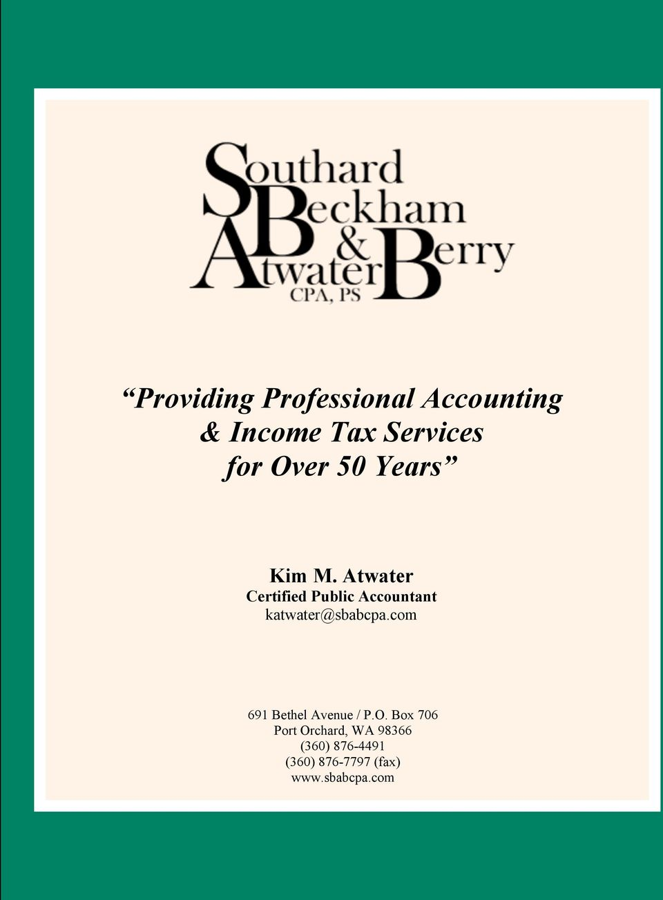 Atwater Certified Public Accountant katwater@sbabcpa.