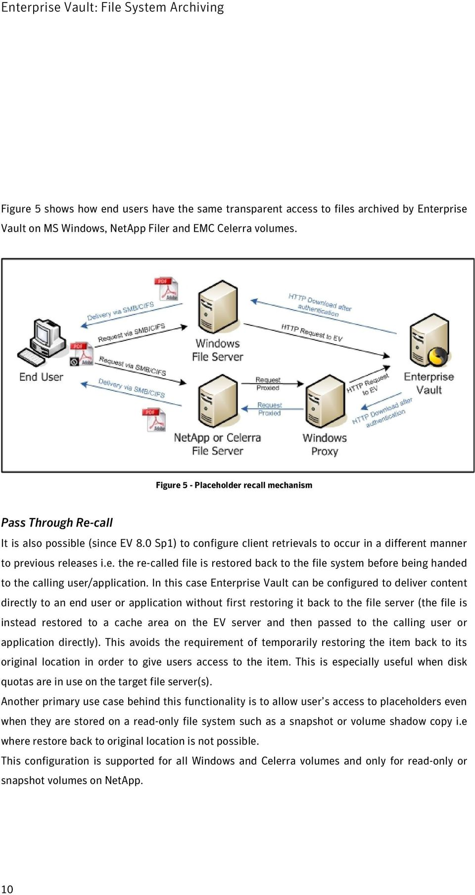 In this case Enterprise Vault can be configured to deliver content directly to an end user or application without first restoring it back to the file server (the file is instead restored to a cache