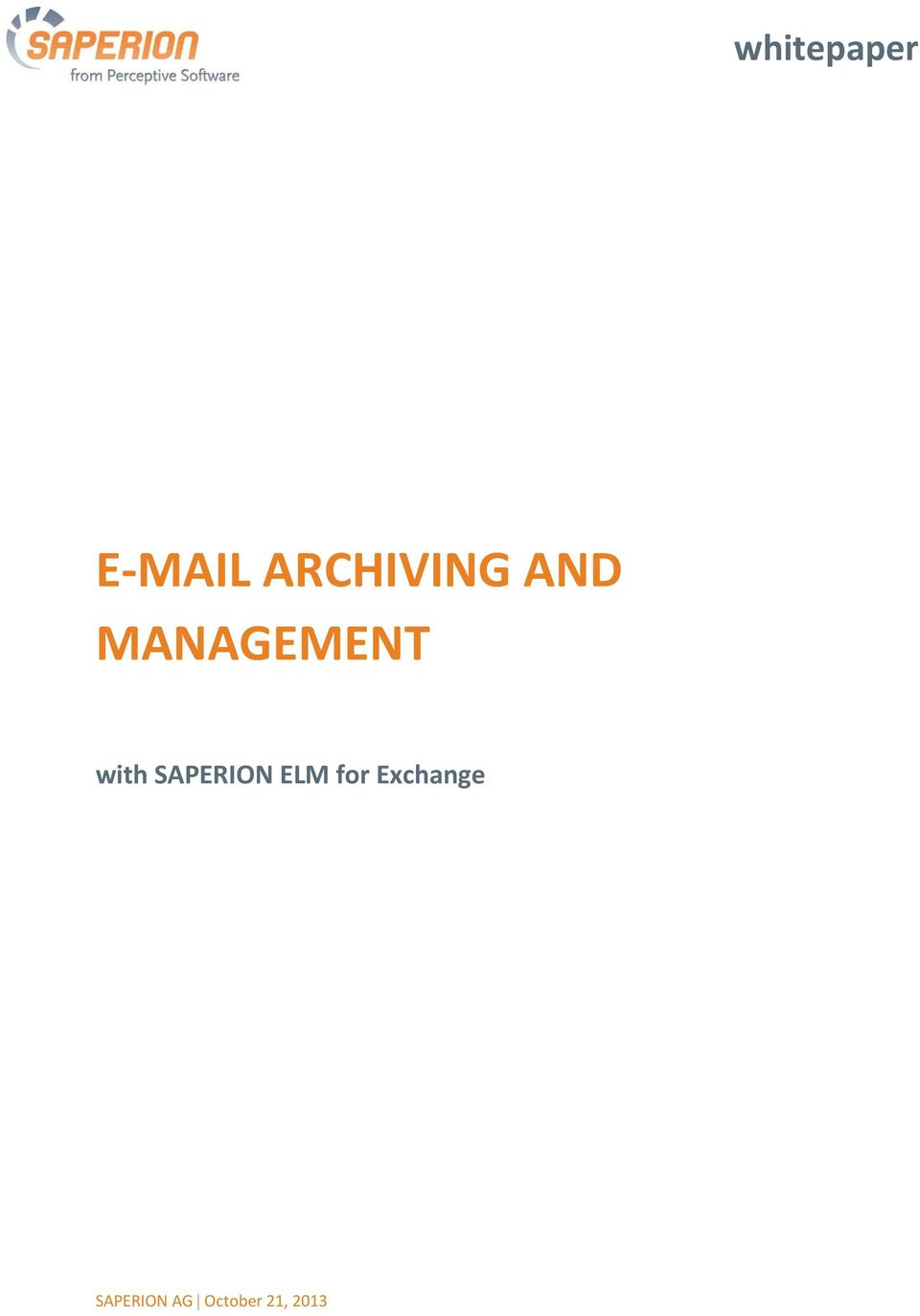 with SAPERION ELM for