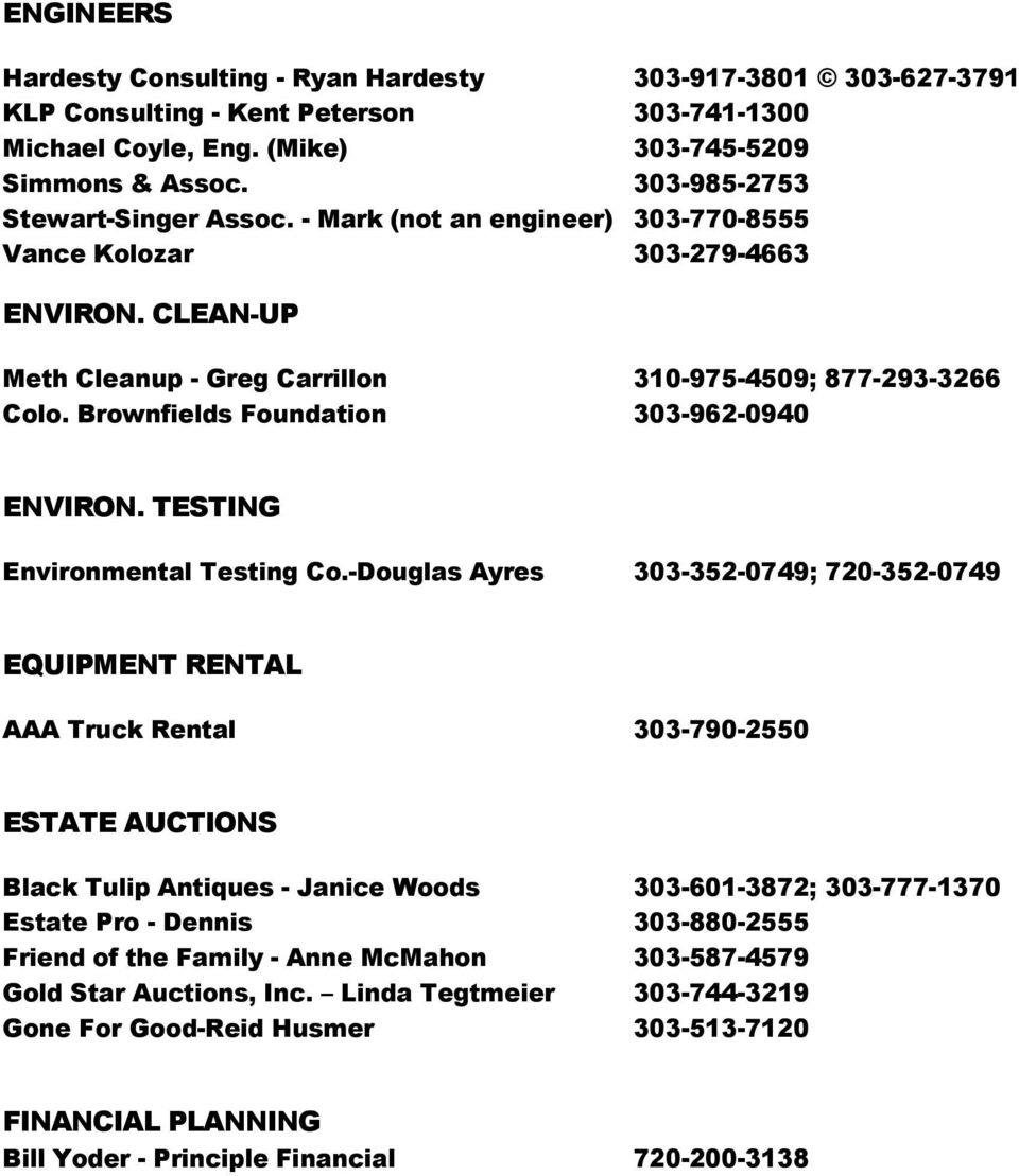 Brownfields Foundation 303-962-0940 ENVIRON. TESTING Environmental Testing Co.