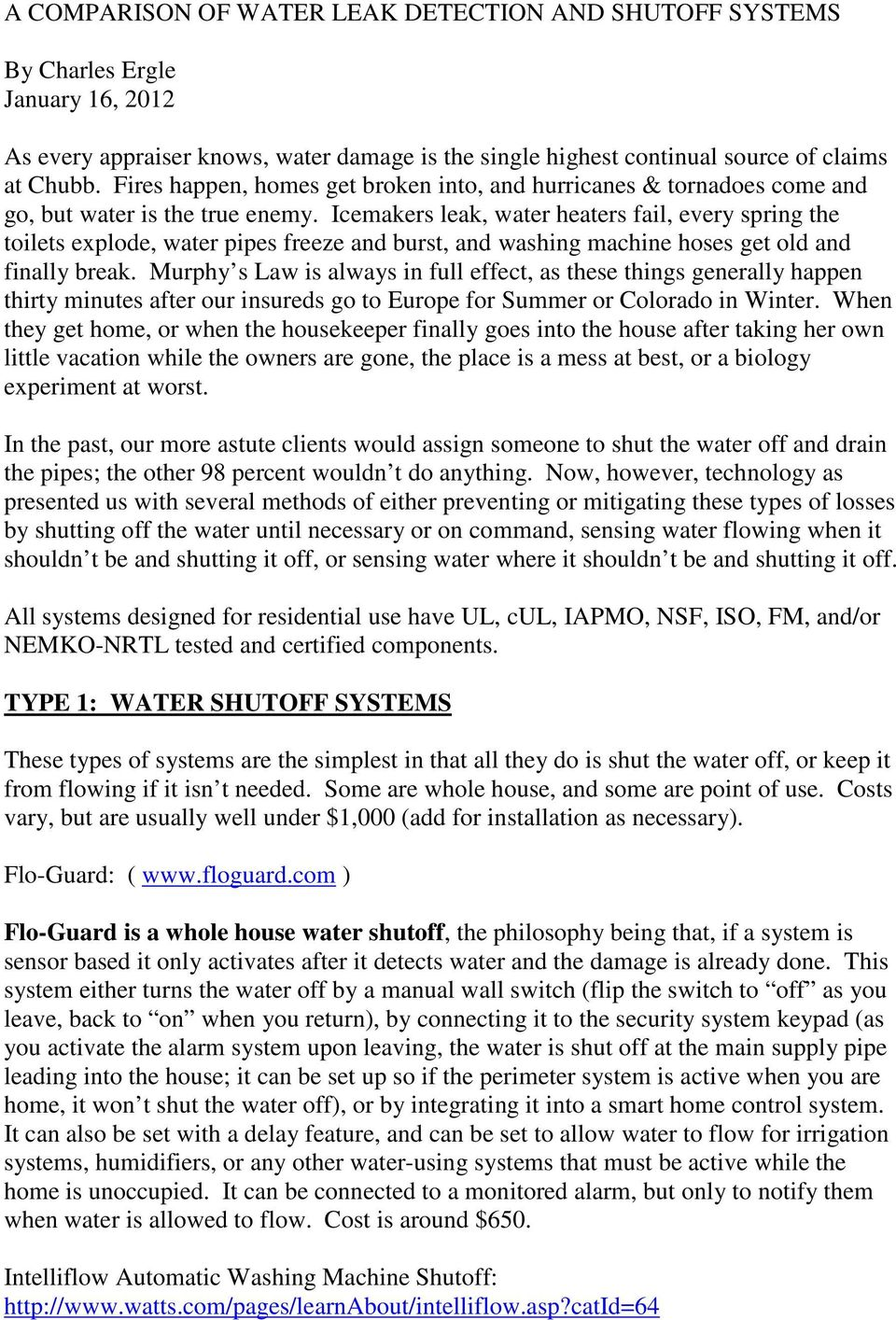 a comparison of water leak detection and shutoff systems pdf icemakers leak water heaters fail every spring the toilets explode water pipes ze