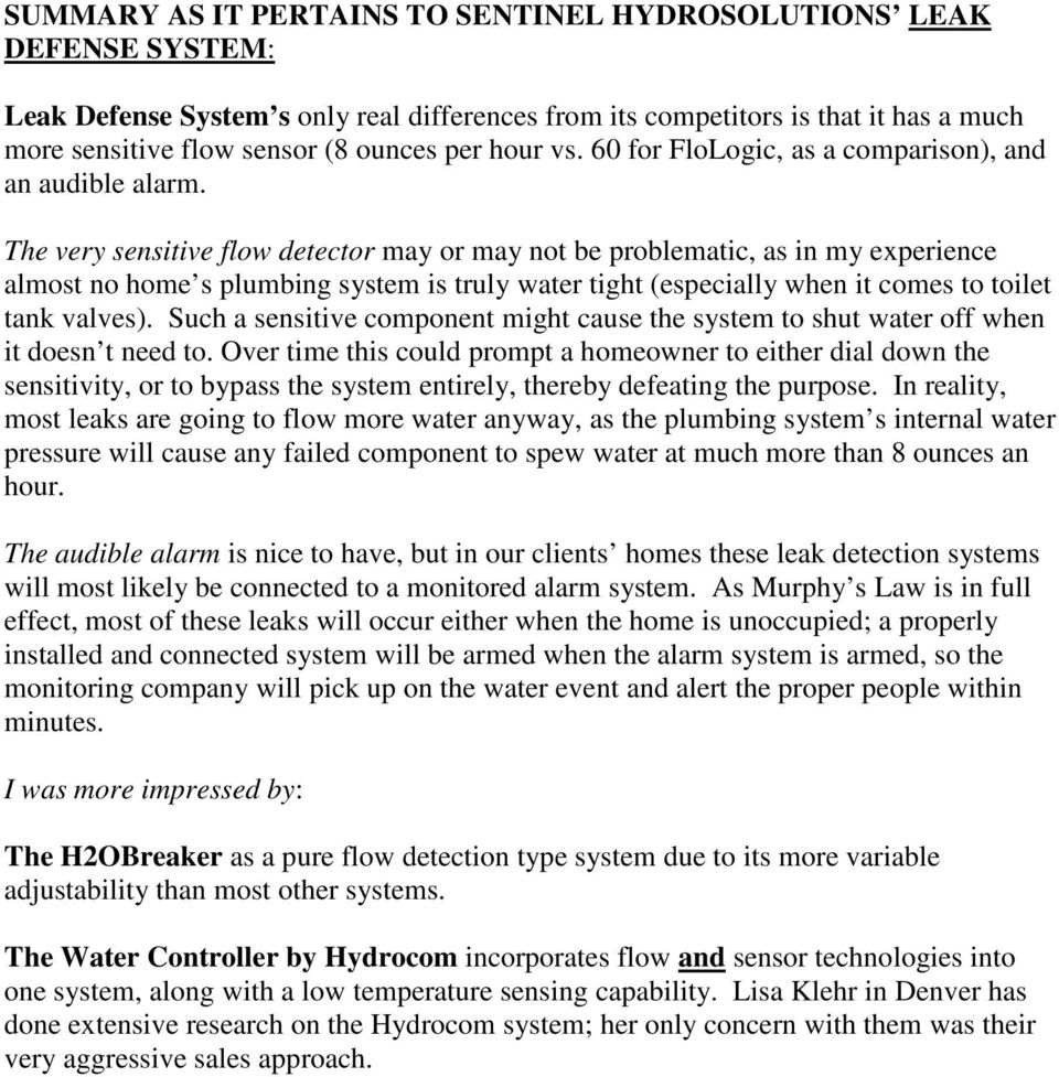 a comparison of water leak detection and shutoff systems pdf the very sensitive flow detector or not be problematic as in my experience