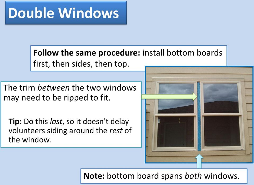 The trim between the two windows may need to be ripped to fit.
