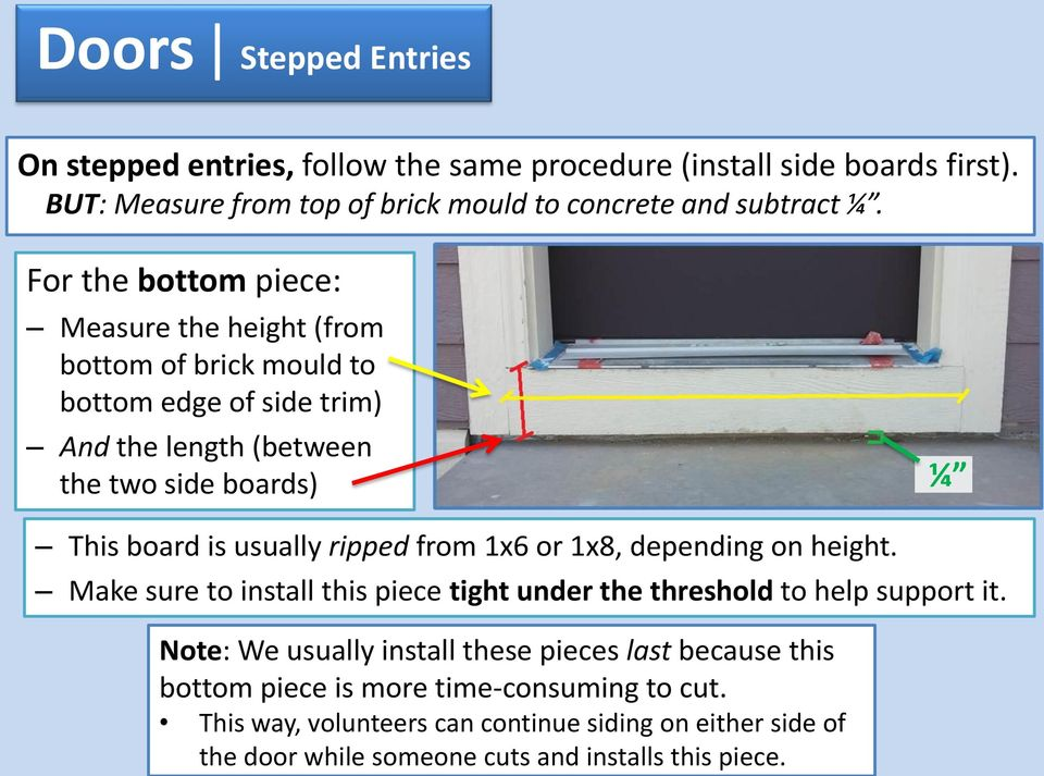 usually ripped from 1x6 or 1x8, depending on height. Make sure to install this piece tight under the threshold to help support it.