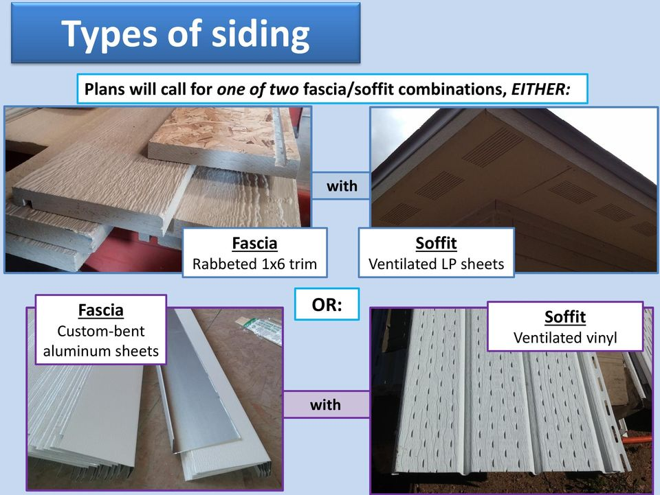 Rabbeted 1x6 trim Soffit Ventilated LP sheets