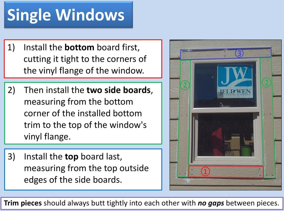 2) Then install the two side boards, measuring from the bottom corner of the installed bottom trim to the