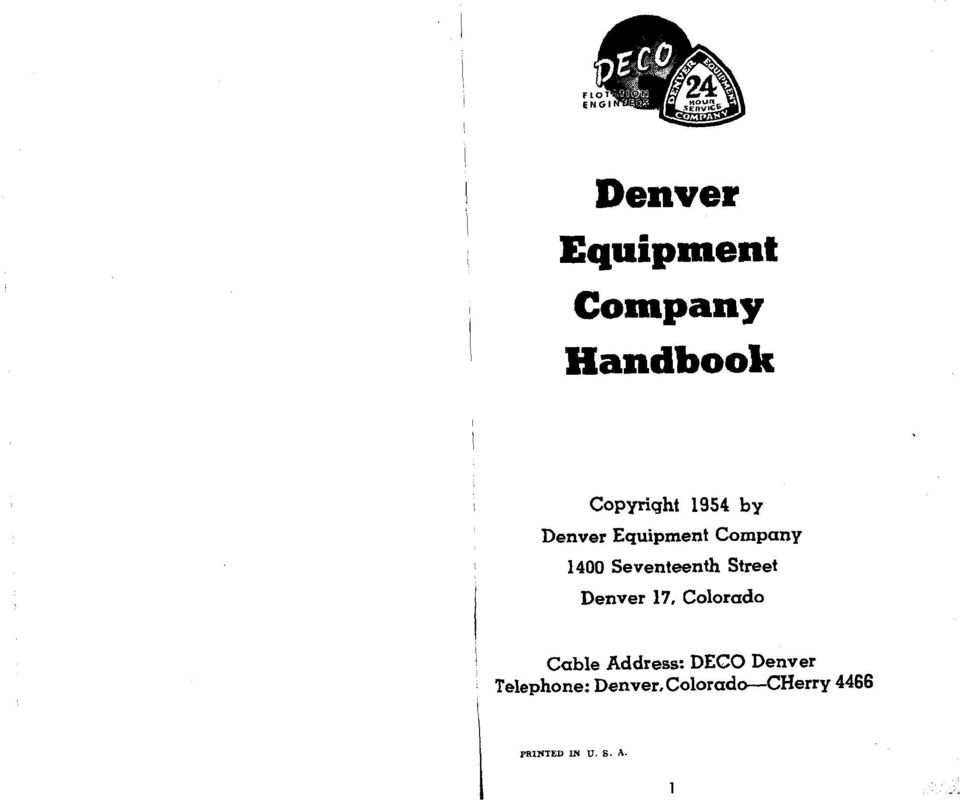 1 Denver Equipment Company Handbook Copyriqht 1954