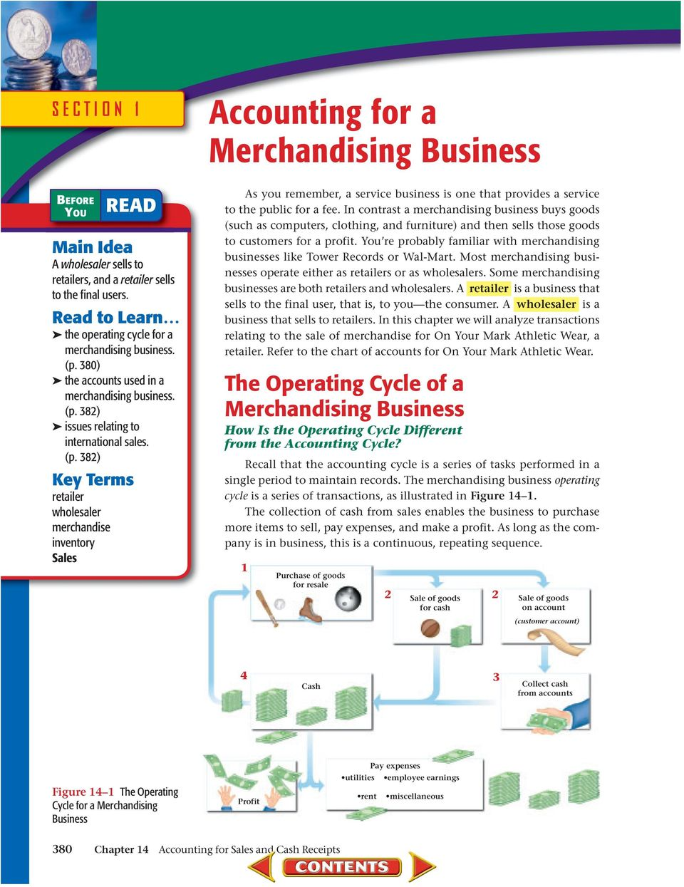 380) the accounts used in a merchandising business. (p.