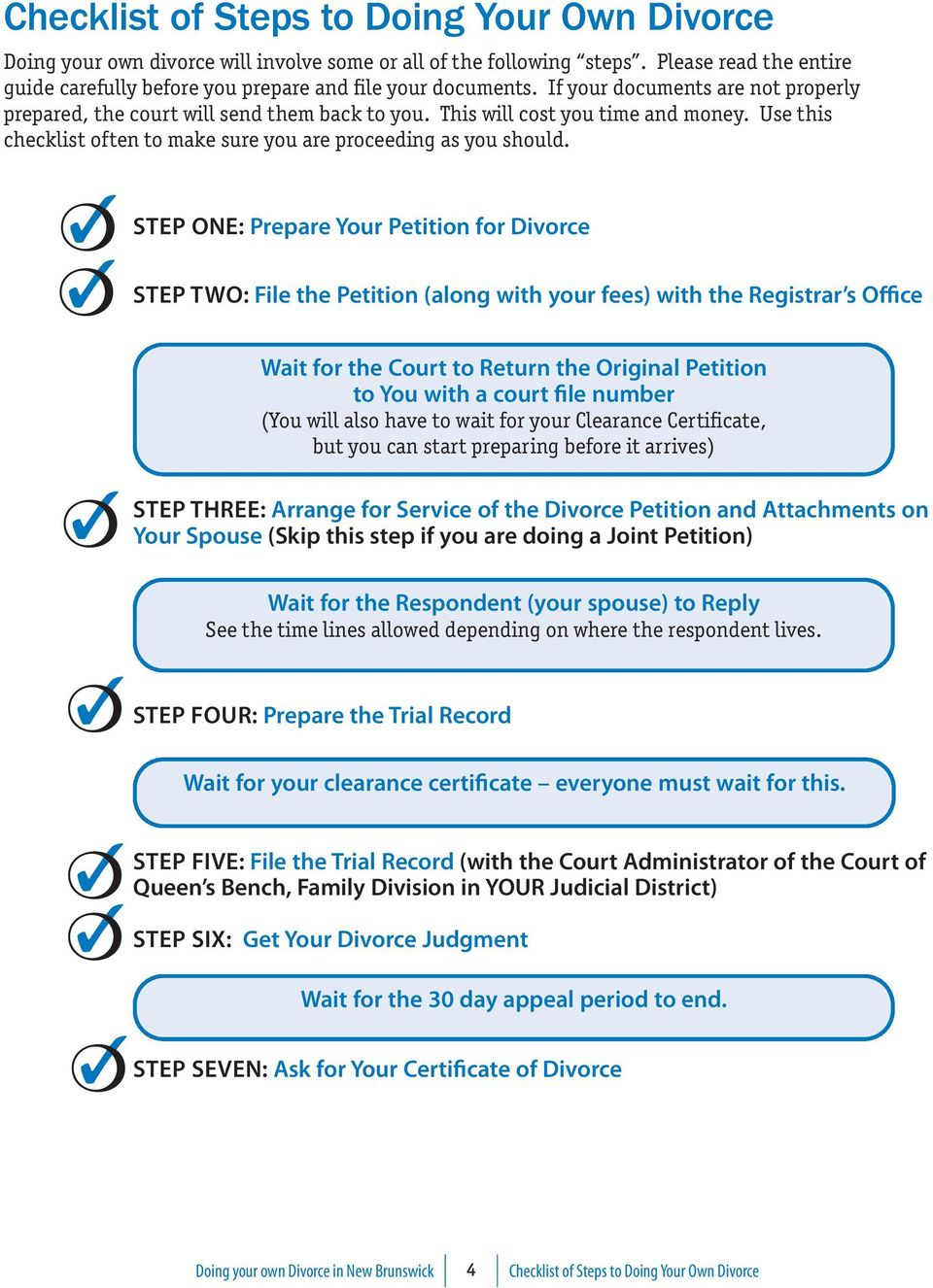 STeP One: Prepare Your Petition for Divorce STeP TWO: File the Petition (along with your fees) with the Registrar s Office Wait for the Court to Return the Original Petition to You with a court file