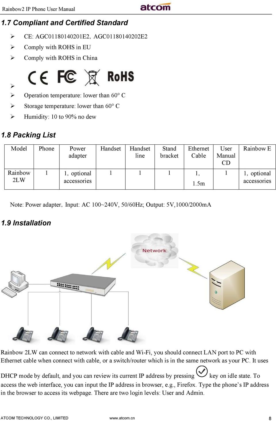 5m User Manual CD Rainbow E 1 1,optional accessories Note: Power adapter,input: AC 100~240V, 50/60Hz; Output: 5V,1000/2000mA 1.