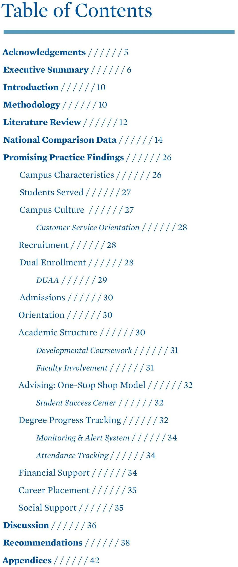 Recruitment / / / / / / 28 Dual Enrollment / / / / / / 28 DUAA / / / / / / 29 Admissions / / / / / / 30 Orientation / / / / / / 30 Academic Structure / / / / / / 30 Developmental Coursework / / / / /