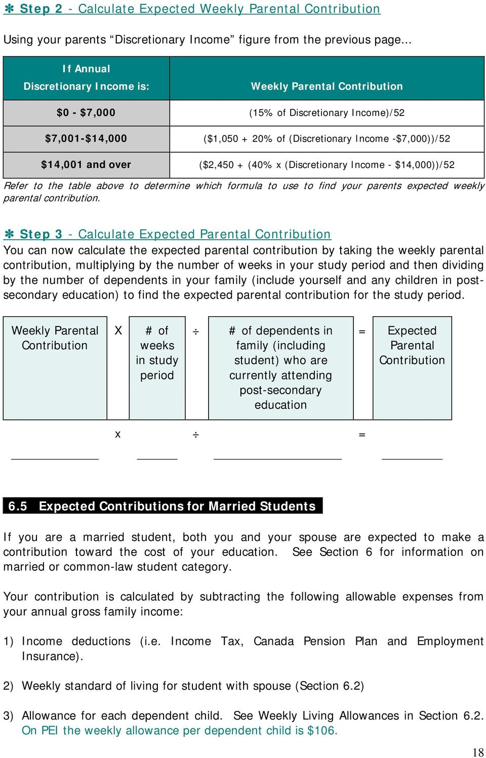 ($2,450 + (40% x (Discretionary Income - $14,000))/52 Refer to the table above to determine which formula to use to find your parents expected weekly parental contribution.
