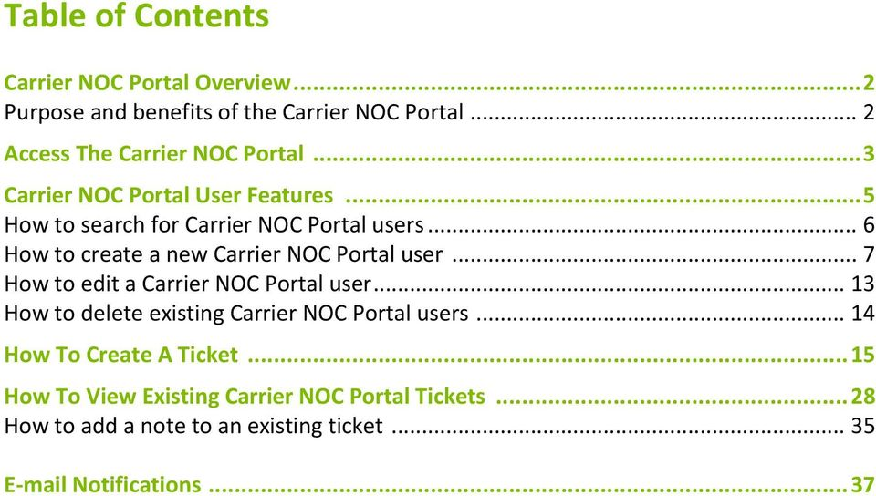 .. 6 How to create a new Carrier NOC Portal user... 7 How to edit a Carrier NOC Portal user.