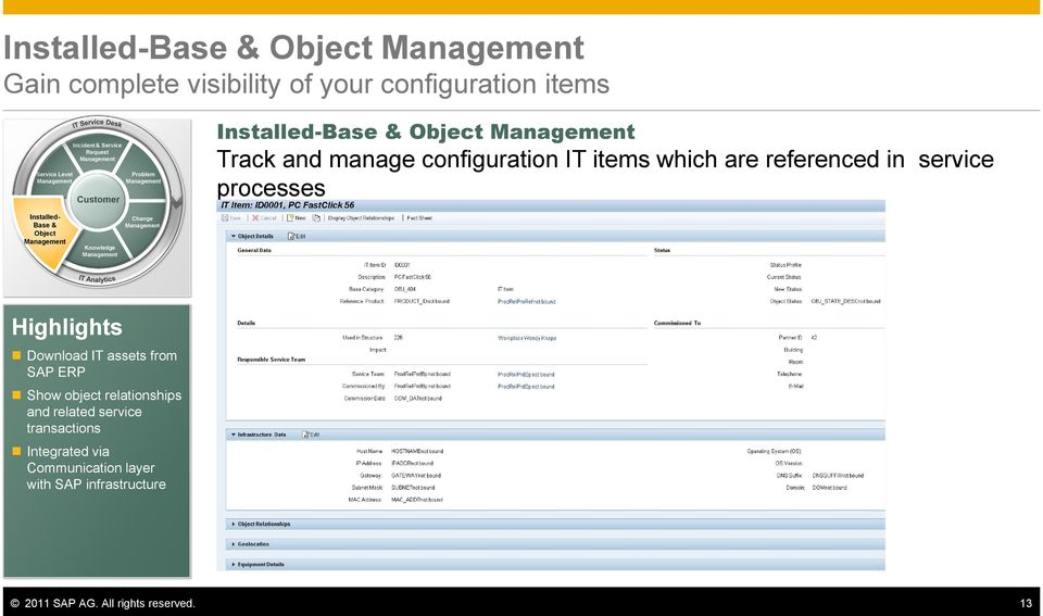processes Installed- Base & Object Knowledge Change Highlights Download IT assets from SAP ERP Show object