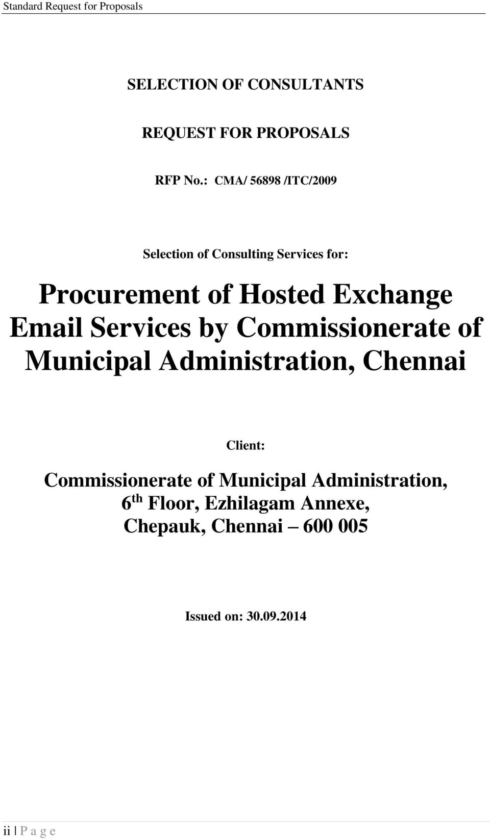 Email Services by Commissionerate of Municipal Administration, Chennai Client: Commissionerate