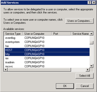 Configuring GEMS Services 8. Click Add and repeat Steps 2 through 7 above, but instead of choosing the application pool identity user, choose the computer account for the SharePoint server instead.