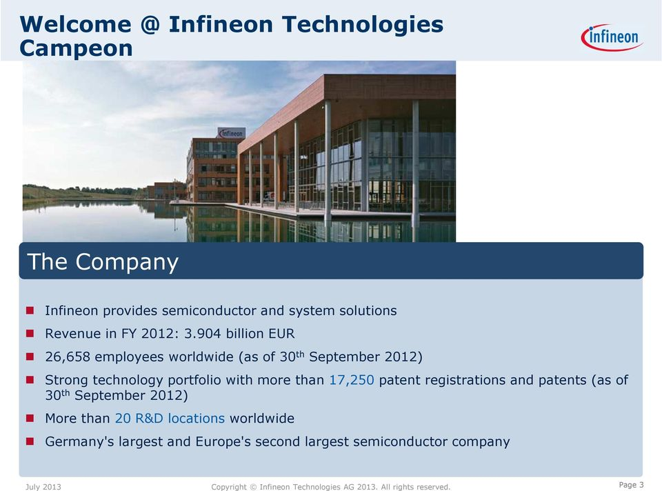 904 billion EUR 26,658 employees worldwide (as of 30 th September 2012) Strong technology portfolio with
