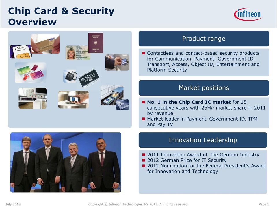 1 in the Chip Card IC market for 15 consecutive years with 25% 1 market share in 2011 by revenue.