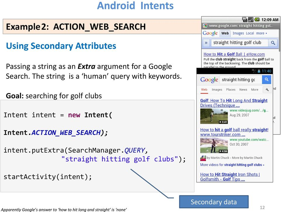 Goal: searching for golf clubs Intent intent = new Intent( Intent.ACTION_WEB_SEARCH); intent.