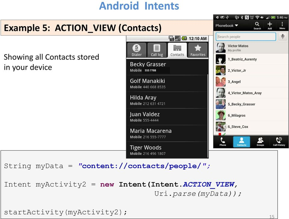 """content://contacts/people/""; Intent myactivity2 = new"