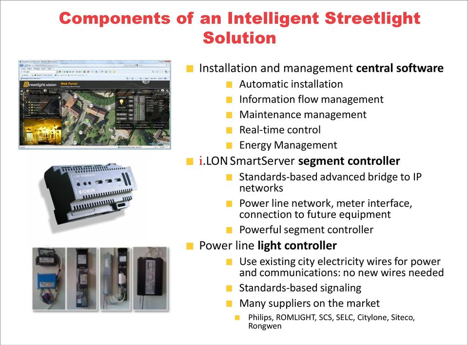 lon SmartServer segment controller Standards-based advanced bridge to IP networks Power line network, meter interface, connection to future equipment