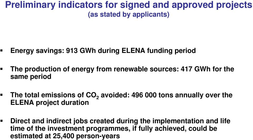 emissions of CO 2 avoided: 496 000 tons annually over the ELENA project duration Direct and indirect jobs created