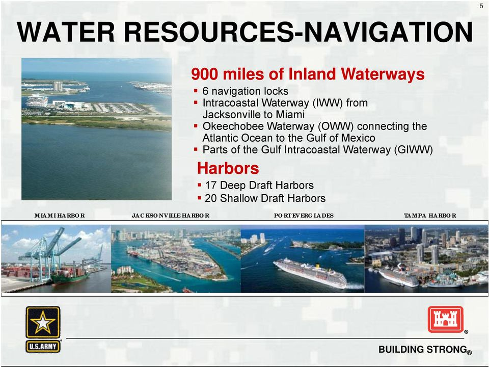 Ocean to the Gulf of Mexico Parts of the Gulf Intracoastal Waterway (GIWW) Harbors 17 Deep