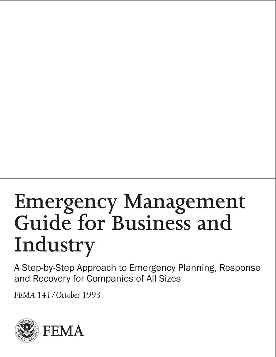 Emergency Planning, Response and Recovery