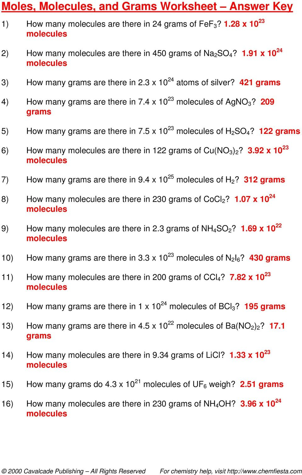Worksheet Moles Molecules And Grams Worksheet molecules and grams worksheet answer key 122 6 how many are there in of cuno 3