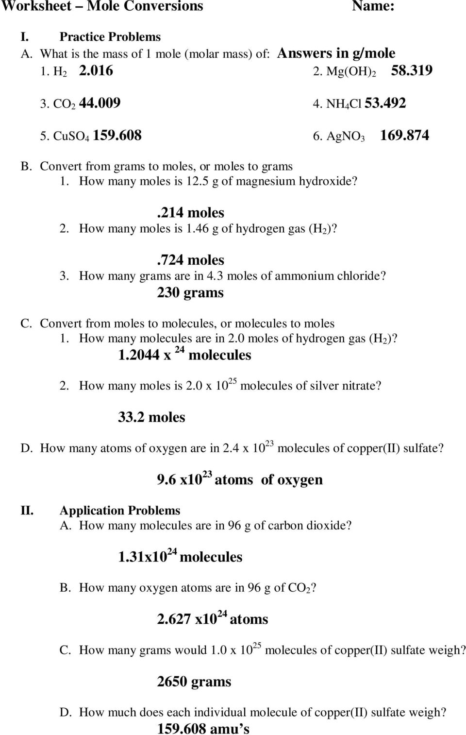 Ic 8 Mole Conversion Problems Worksheet Breadandhearth