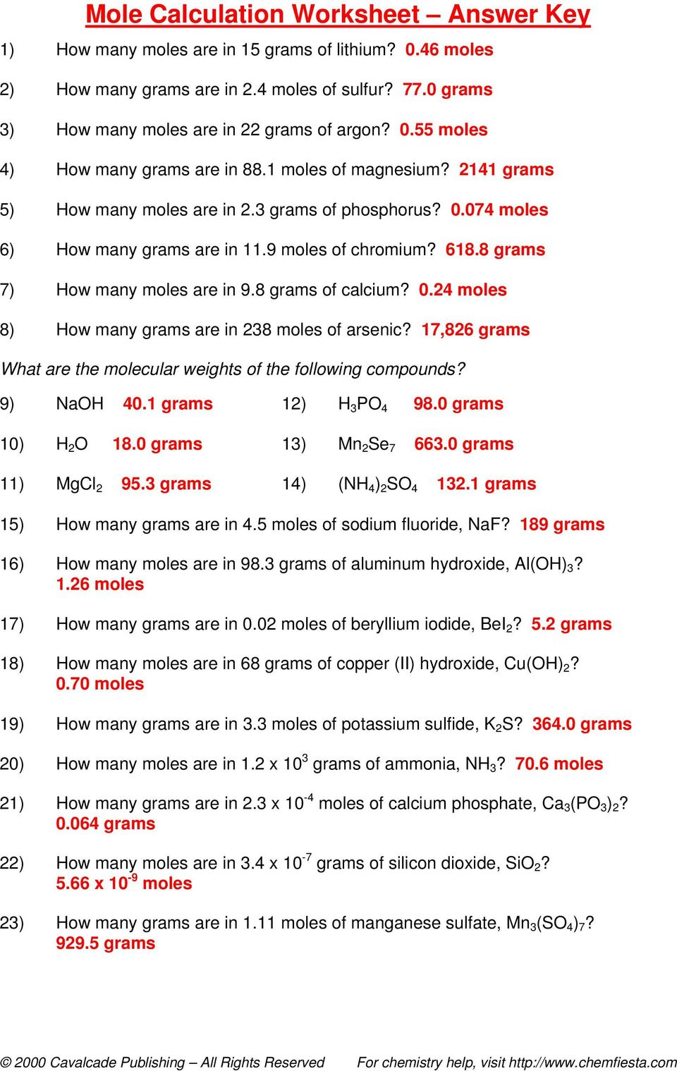 Moles Molecules And Grams Worksheet on Moles Molecules And Grams Worksheet