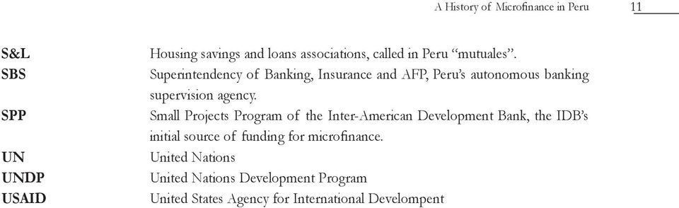 Small Projects Program of the Inter-American Development Bank, the IDB s initial source of funding