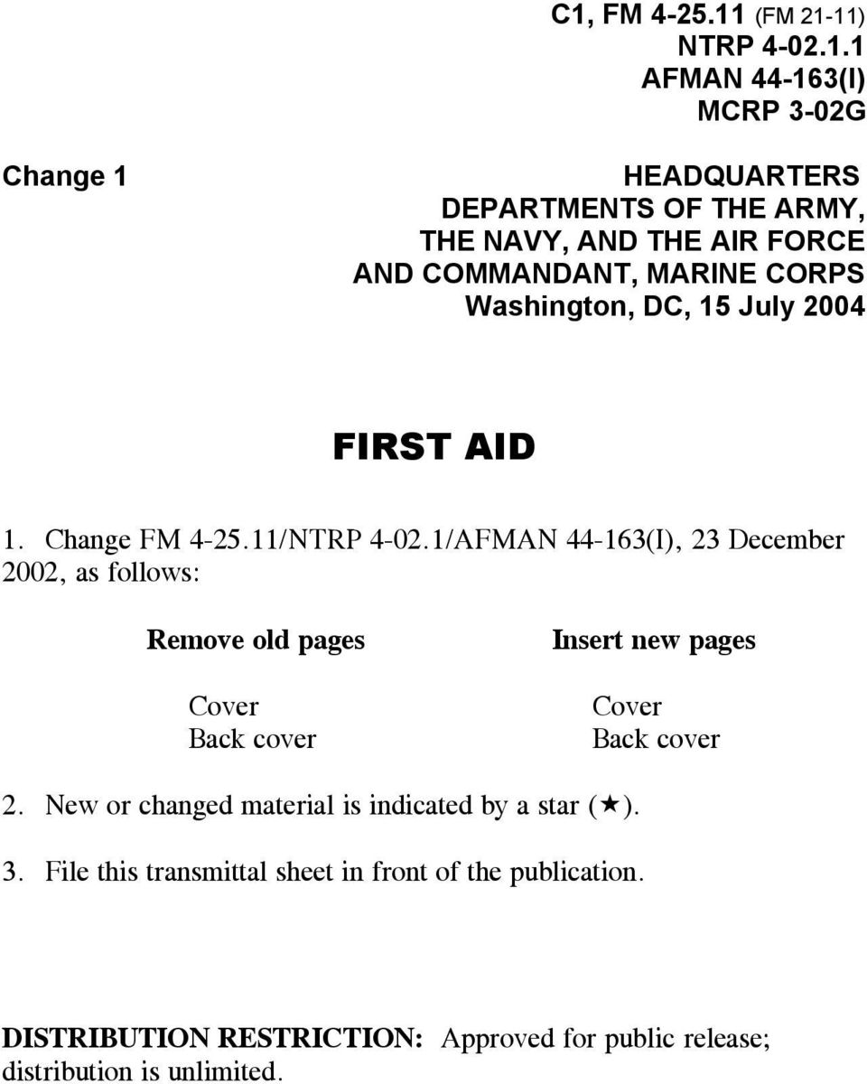 1/AFMAN 44-163(I), 23 December 2002, as follows: Remove old pages Cover Back cover Insert new pages Cover Back cover 2.