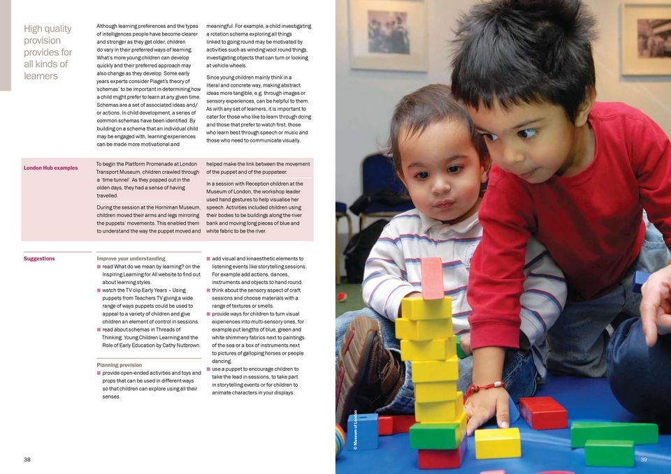Some early years experts consider Piaget s theory of schemas to be important in determining how a child might prefer to learn at any given time. Schemas are a set of associated ideas and/ or actions.