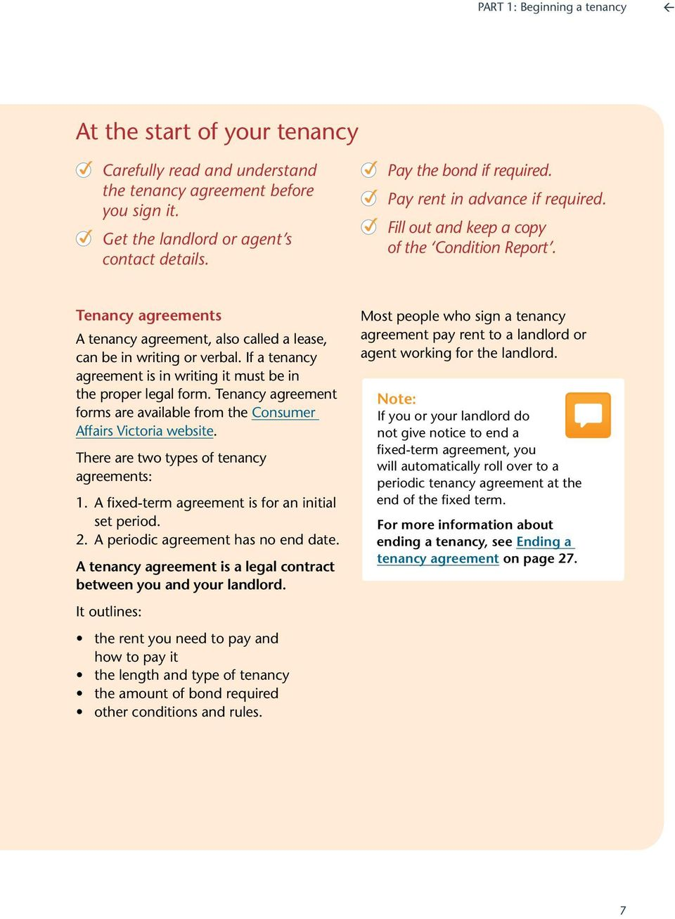 If a tenancy agreement is in writing it must be in the proper legal form. Tenancy agreement forms are available from the Consumer Affairs Victoria website.