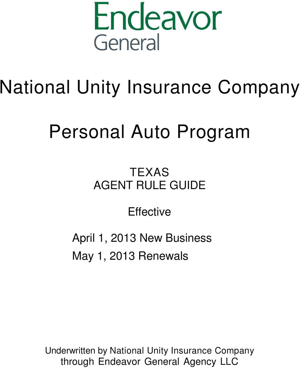 Business May 1, 2013 Renewals Underwritten by National