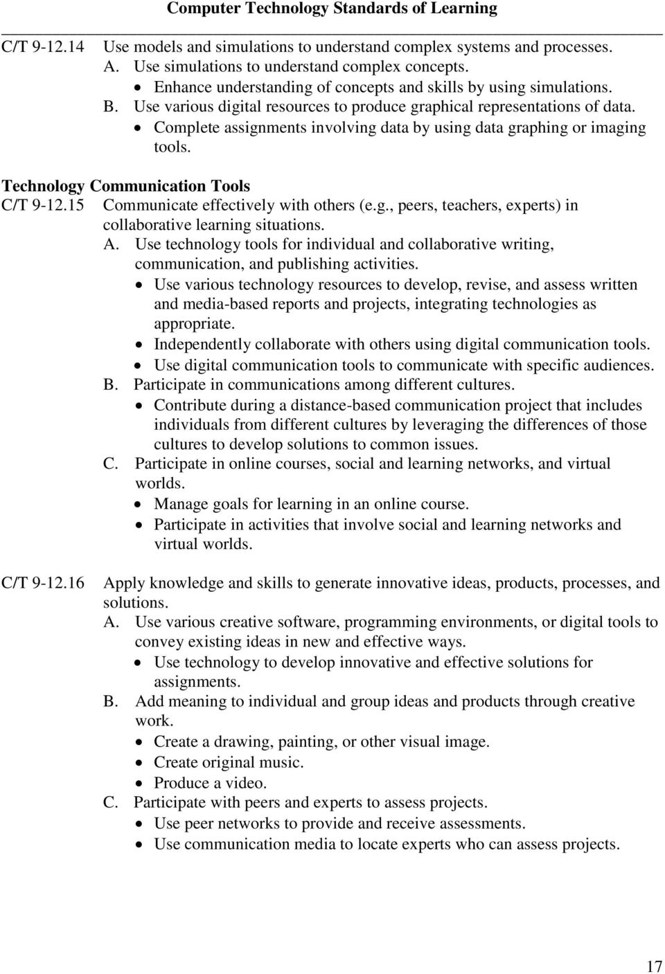 Complete assignments involving data by using data graphing or imaging tools. Technology Communication Tools C/T 9-12.15 Communicate effectively with others (e.g., peers, teachers, experts) in collaborative learning situations.