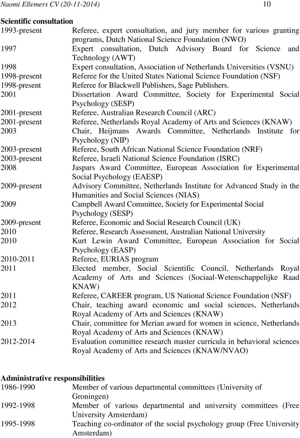 Science Foundation (NSF) 1998-present Referee for Blackwell Publishers, Sage Publishers.