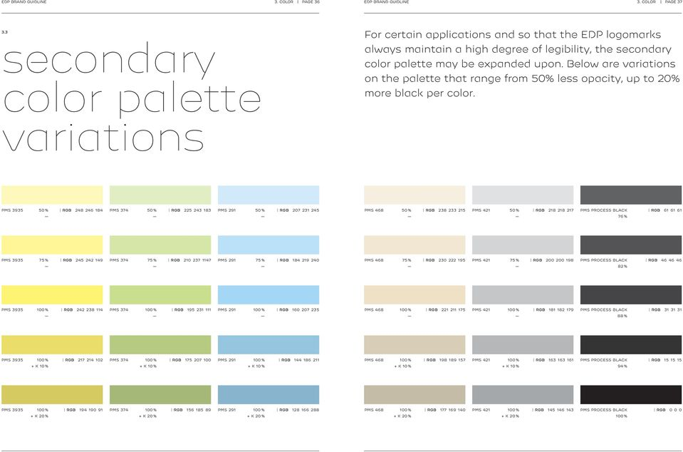 Below are variations on the palette that range from 50% less opacity, up to 20% more black per color.