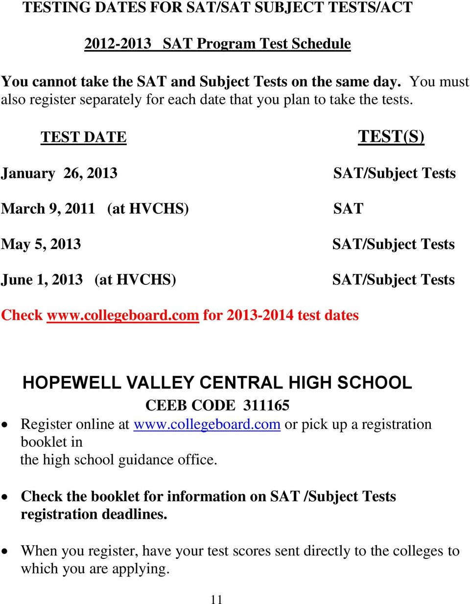 TEST DATE January 26, 2013 March 9, 2011 (at HVCHS) May 5, 2013 June 1, 2013 (at HVCHS) TEST(S) SAT/Subject Tests SAT SAT/Subject Tests SAT/Subject Tests Check www.collegeboard.
