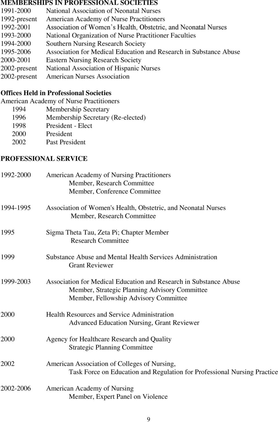 2000-2001 Eastern Nursing Research Society 2002-present National Association of Hispanic Nurses 2002-present American Nurses Association Offices Held in Professional Societies American Academy of